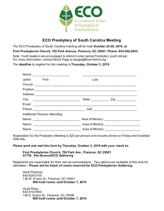 October 25-26, 2019 Presbytery Gathering – ECO Presbytery of